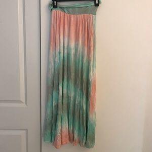 High waisted or fold over maxi skirt